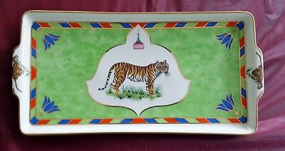 Lynn Chase Designs Tiger Raj 24K Gold Tab Handled Rectangular Serving Tray