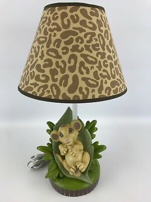 Disney Lion King Baby Simba Lamp Green Leaves Base & Leopard Shade - Working