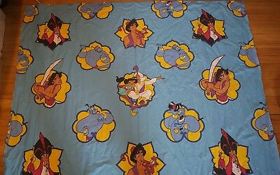 Vintage ALADDIN flat sheet bed anime cartoon 80s twin fabric 90s Disney Jasmine