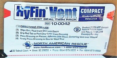 HyFin 10-0042 Vent Compact Chest Seal Twin Pack Dressing QTY 12 twin packs
