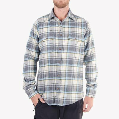 WSL Men's Flannel Shirt Beige Light Blue Classic Coloways Authentic mens shirt