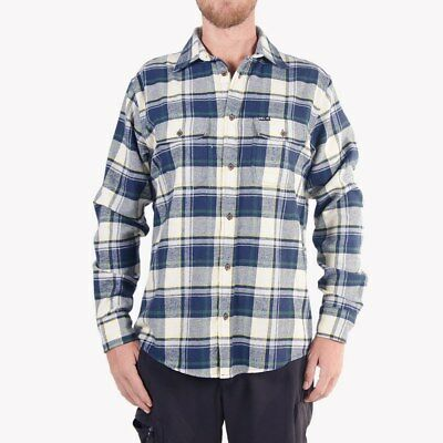 WSL Men's Flannel Shirt Navy Beige long-sleeved Flannel shirt Classic Color