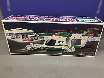 NIB Hess Helicopter With Motorcycle and Cruiser 2001 New