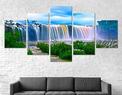 Waterfall Landscape Canvas Print Painting Framed Home Decor Wall Art Poster 5Pcs