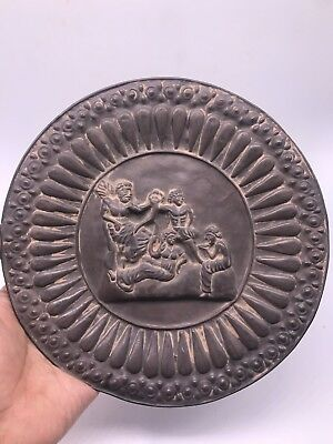 Ancient Persian hand beaten silver plate with scene of ruler