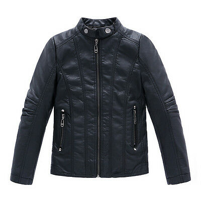 Kids Girls Boys Leather Jackets Casual Coats Clothes Turn-down Collar Parkas