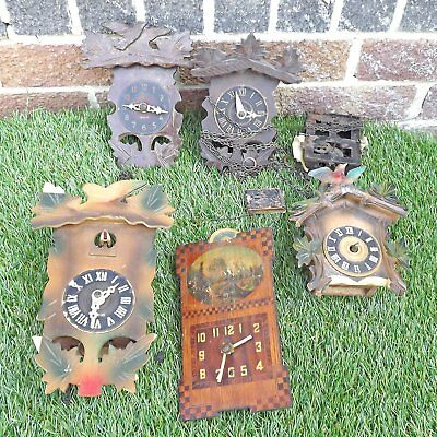 Collection 6 Cuckoo And Black Forest Clocks - For Spares Or Repair