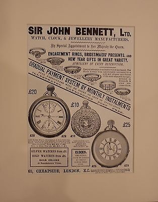 Vintage Advert mounted ready to frame Sir John Bennett Ltd 1901 Watch and clock