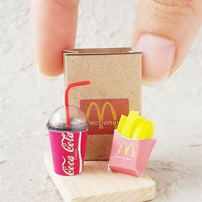 Coke COCA-COLA Cup French Fries in Bag Dollhouse Miniatures Fast Food Soda Drink