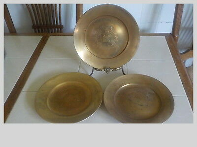 Set Of 3 Heavy Bronze / Brass Decorator Plates From Korea