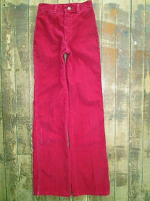 VTG Wrangler Junior's 7 Cotton Corduroy Magenta Red Slim Tall Long Cowgirl 24x33