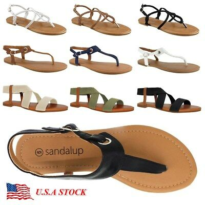 d26cbab99214 Women Gladiator Sandals Shoes Thong Flop Strap Flip Flat Size Strappy  Summer Toe