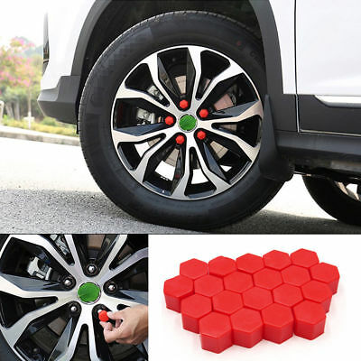 20pcs Car Truck Wheel Tyre Hub Screw Bolt Nut 19mm Plastic Cap Accessories Red