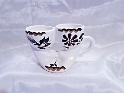 Vintage 1960's/1970's Toni Raymond Double Egg Cup With Handle & Indent For Salt