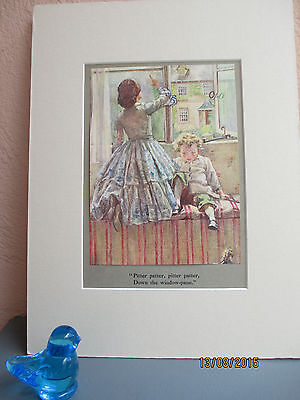 rare book plate of boy and mother on rainy day 1925