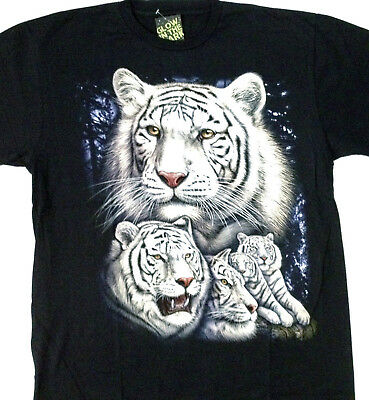 "White tiger family ""Glow in the dark"" Tee shirt 2 sided X large 46-48 TEE TN009"