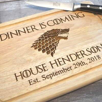 Game Of Thrones - Personalised - Dinner Is Coming - Wooden Chopping Board