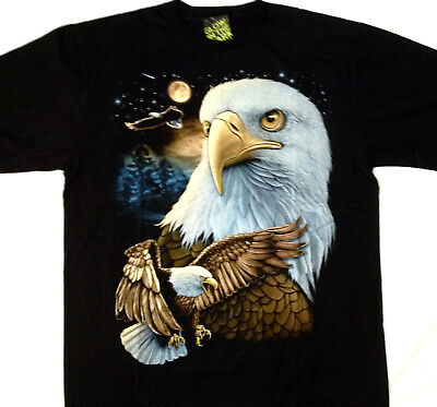 "Bald Eagle collage  ""Glow in the dark"" Tee shirt 2 sided X large 46-48 TEE TN012"