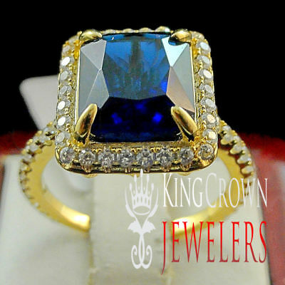 14k Yellow Gold Tone Sterling Silver W/ Simulated Blue Sapphire Ladies Ring Band