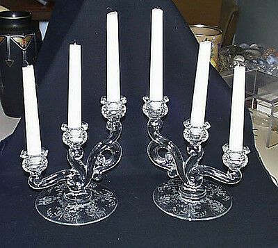 Superior Pair Heisey Etched Orchid Triple Candle Holders Mint Condition