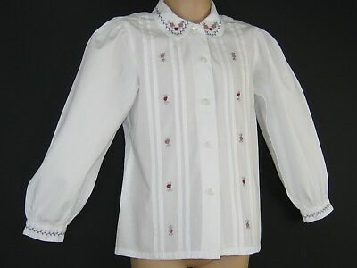 Laura Ashley Vintage Mother&child Label Embroidered Pin Tuck White Blouse, 6 Yrs