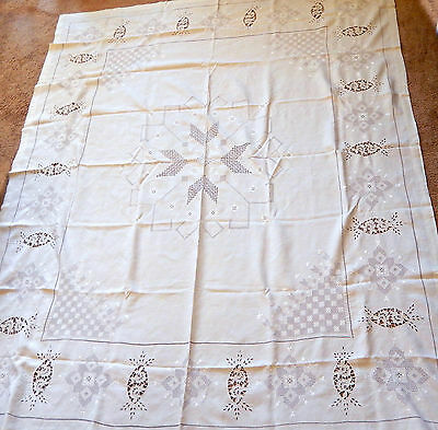 "Antique Italian Linen Lace Table Cloth/ Hand Crafted /Point de Venise  86"" x 70"