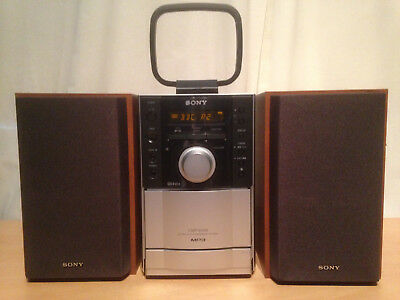 Sony Micro HiFi CD Tape Deck Receiver Tuner HCD-EH10 MP3 SS-CEH10 4 Ohm Speakers