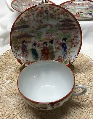 TEA CUP AND SAUCER GEISHA GIRLS HAND PAINTED MADE IN JAPAN Lot 2