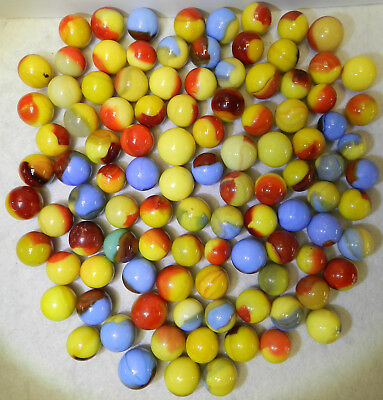 #8067m Vintage Group or Bulk lot of 100 Mixed Company Patch Marbles