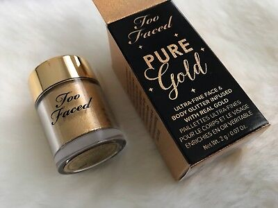 Too Faced PURE GOLD  Face & Body Highlighter Glitter Full Size Sealed Sifter Jar