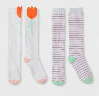 38e020ff807 Girls Cat   Jack Flower Knee High Socks 2 Pack Multi Color Select Size (3496