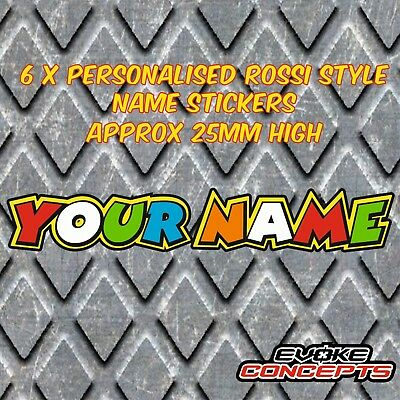 6 x Personalised Rossi Style Name Decals / Stickers