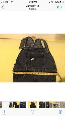 VINTAGE Guess Jeans Overalls Womens S Denim Bib Black Spell Out Ladies 90s