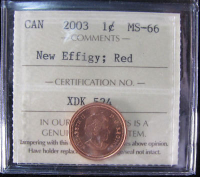 2003 New Effigy  Canada 1 Cent  ICCS graded MS-66;  RED (small cent or penny)