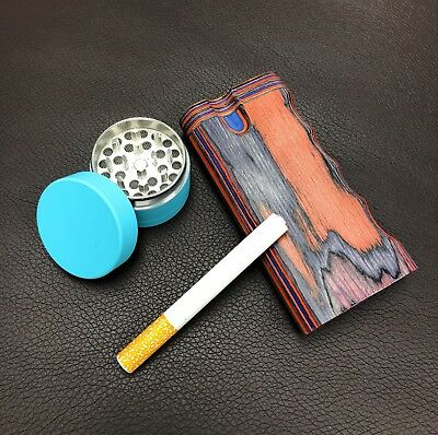 """4"""" Colorful Wood Dugout Neon Grinder With Pipe Set EZ Grip Tobacco Herb USA Sell"""