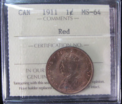 1911   Canada 1 Cent  ICCS graded MS-64;  RED (small cent or penny)