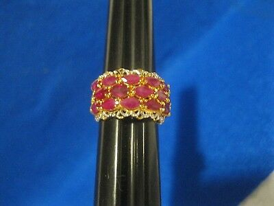Vintage Sterling Silver Gold Overlay & Ruby Colored Stone Ring Band