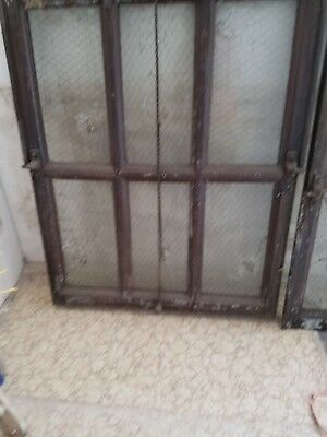 Architectural Metal Steel Sash Window Industrial Vintage Antique Chicken Wire