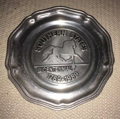 """*REDUCED*  SOUTHERN STATES HORSE TROPHY PEWTER PLATE 7"""" *Bicentennial 1789-1989"""