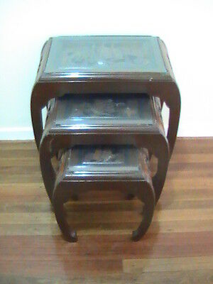 Chinese Oriental Vintage or Antique Nest of Tables Carved with Glass insets
