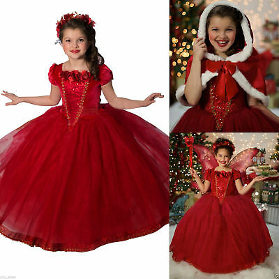 Kids Girls Party Dress Costume Princess Christmas Gift Dress+Cape Fancy Dress