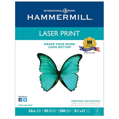 Hammermill Laser Print Paper, Letter, White, 24lb, 98-Bright, 500 sheets, 1 Ream