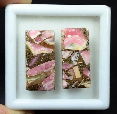 36.20 Cts.Natural Pair Copper Rhodochrosite Cabochon 28*14*3.5 mm Loose Gemstone