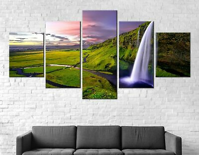 Waterfall Sunset Canvas Print Painting Framed Home Decor Wall Art Poster 5Pcs