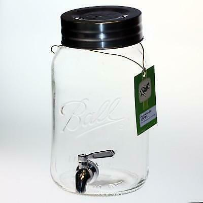 Ball Mason Glass Jar round 4.0 Litre with push top lid and solid chromed bras...