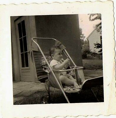 Old Antique Vintage Photograph Cute Little Baby Sitting in Carriage