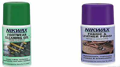 Nikwax Footwear Cleaning Gel 125Ml + Fabric And Leather Proof 125Ml Spray On