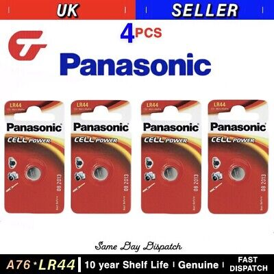 Genuine Panasonic A76 LR44 AG13 Alkaline Button Battery 1.5v Watch Calculator x4