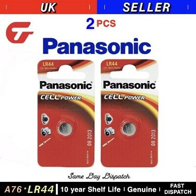 Genuine Panasonic A76 LR44 AG13 Alkaline Button Battery 1.5v Watch Calculator x2