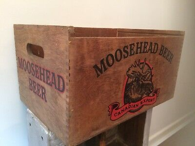 Rare Vintage MOOSEHEAD BEER Canadian Export Wooden Beer Crate